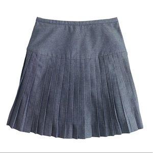 J. Crew Blue Chambray Pleated Mini Skirt